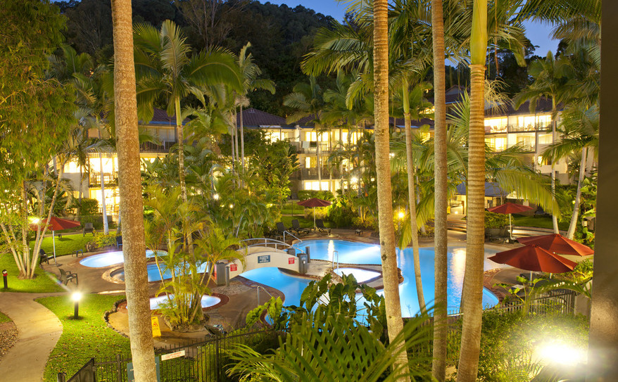 Resort Pool and Garden at Night - Mantra French Quarters