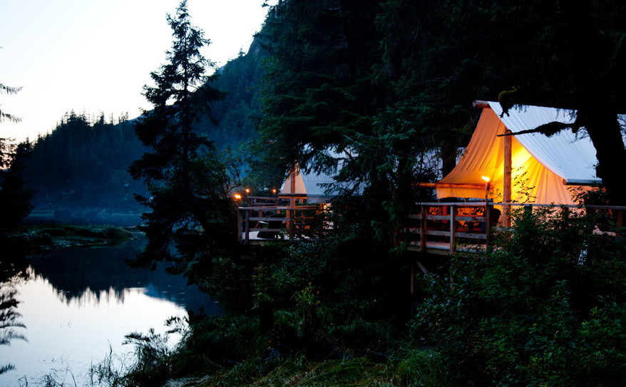 evening settles in on your ensuite tent